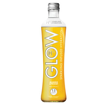 GLOW Beverages Sparkling Infused Hydration - 8 Pack 12oz Glass Bottle - Mango Apricot