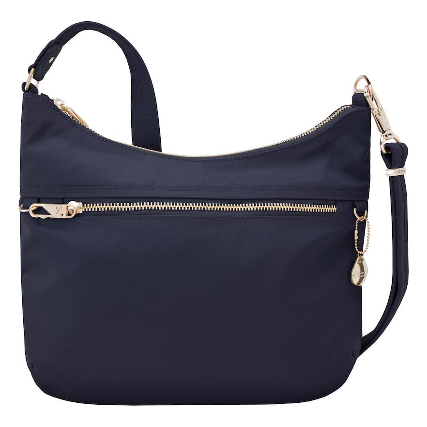 Travelon Anti-Theft Tailored Hobo Bag Sapphire/Dove Gray Interior - Travelon Fabric Handbags