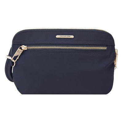 Travelon Anti-Theft Tailored Convertible Crossbody Clutch Sapphire/Dove Gray Interior - Travelon Fabric Handbags