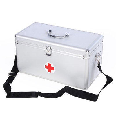 Songmics Portable First Aid Box Large 40 x 20.5 x 22.5 cm alu Crossshoulder with handle 2 layers Medical Storage Kit for Home,Travel & Workplace JBC36S
