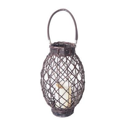 Elements LED Dark Brown Oval Wicker Lantern