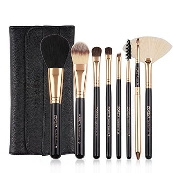 Makeup Brushes Zoreya Travel Makeup Brush Set With Case Black Cosmetic Foundation Powder Eyes Fan Brushes Rose Gold Wood Handle Synthetic Hair Hypoallegenic...