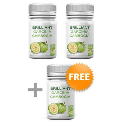 Brilliant Garcinia Cambogia - 3 Bottles - Diet Pills - 80% HCA - Extra Slim Formula - Appetite Suppressant - 60 Capsules