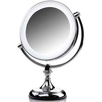 Ovente LED Lighted Makeup Mirror, Dimmable, Battery or USB Adapter Operated (1X/5X, Polished Chrome)