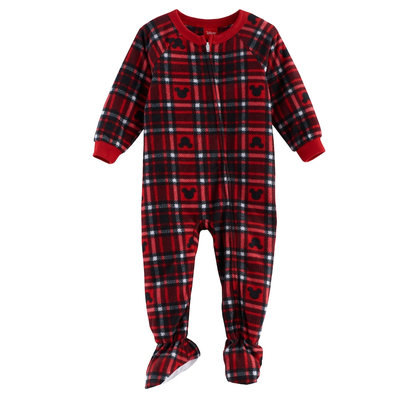 Disney's Mickey Mouse Baby Plaid Microfleece Footed Pajamas by Jammies For Your Families, Infant Unisex, Size: 18 Months, Multicolor