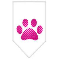 Ahi Pink Swiss Dot Paw Screen Print Bandana White Large