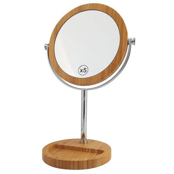 Lighted Makeup Mirror - 8 Inch LED Vanity Mirror 1x/7x Magnifying Double Sided Mirror Battery Operated Nickel Finished ALHAKIN