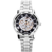 Mens Classic Transparent Steampunk Skeleton Mechanical Man Stainless Steel Watch Silver Band Black Dial