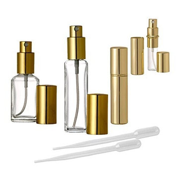 Grand Parfums Gold Perfume Atomizer Collection, 1/3 Oz, 1/2 Oz and 1 Oz Fine Mist Spray Bottles for Purse and Vanity (Set of 1(1 of Each Style))