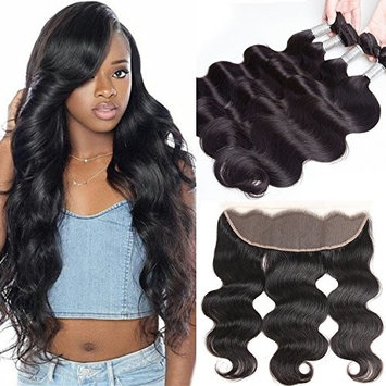 BINF 4x13 Lace Frontal with Bundles 10A Brazilian Body Wave 4 Bundles with Frontal Closure 100% Unprocessed Virgin Human Hair Weave Extensions