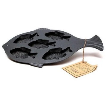 Mountain Cast Iron Preseasoned Fish Cornbread Pan 0166-10145