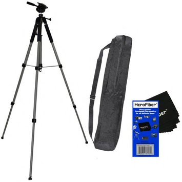 72' Pro Elite Series Photo/video Tripod & Deluxe Soft Carrying Case for Pentax K10D, K20D, K100D, K110D, & K200D Digital SLR Cameras w/ Herofiber® Ultra Gentle Cleaning Cloth