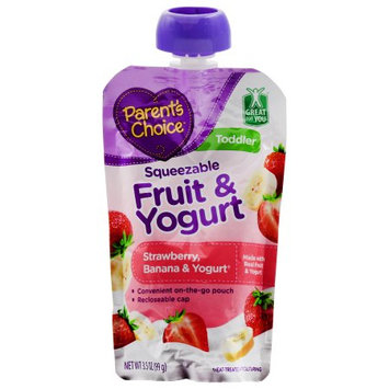Parents Choice Parent's Choice Squeezable Fruit & Yogurt Strawberry, Banana & Yogurt Baby Food, 3.5 oz