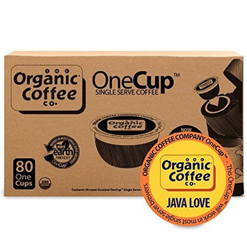 The Organic Coffee Co. OneCup Java Love (80 Count) Single Serve Coffee Compatible with Keurig K-cup Brewers USDA Organic Single Serve Coffee Pods, Compatible with Cuisinart, Bunn Single Serve Brewers