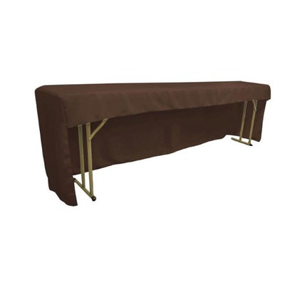 LA Linen TCpop-OB-fit-96x18x30-BrownP22 Open Back Polyester Poplin Fitted Tablecloth for Classroom Tables Brown