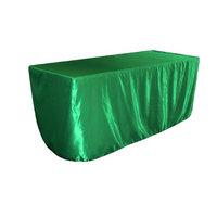 LA Linen TCbridal-fit-72x24x30-GreenKellyB32 Fitted Bridal Satin Tablecloth Green Kelly - 72 x 24 x 30 in.