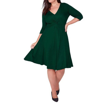 Women Plus Size Dress, Realdo V-Neck 3/4 Sleeve Evening Party Dress Green, US 16
