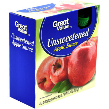 Great Value Unsweetened Apple Sauce Pouches, 12.8 oz, 4 Count