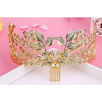 Leiothrix Elegant Baroco Alloy Princess Weeding Crown Hair Comb with Leaf Shape Rhinestone & Pearl for Women and Girls Apply to Weeding Party Performance