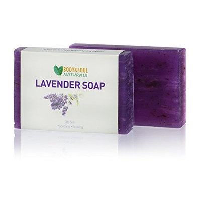 Body and Soul Naturals Lavender Natural Vegan Soap made with 100% Pure Essential Oils 3.5 Oz (2-Pack)