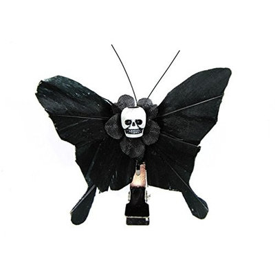 Hairy Scary All Black Small Kahlovera Skull Butterfly Feather Hair Clip