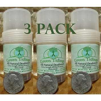 Green Tidings All Natural Deodorant *Extra Strength, All Day Protection* Unscented 1oz (3 PACK- (Vegan, Cruelty Free, Aluminum Free, Paraben Free, Non Toxic, Solid Lotion Bar Tube)