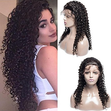VIPbeauty Virgin Brazilian Lace Front Wigs With Baby Hair Brazilian Curly Wave Wigs for Black Women 130% Density Human Hair Wigs with Adjustable Straps 16-Inch