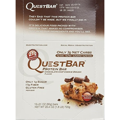 Quest Bar Chocolate Chip Cookie Dough 4 boxes Low-carb protein, muscle building
