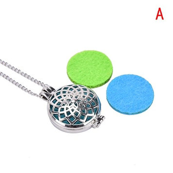 1 Pcs Oil Diffuser Pendant Necklace,Aromatherapy Diffuser Locket Necklaces with Washable Pads by Team-Management