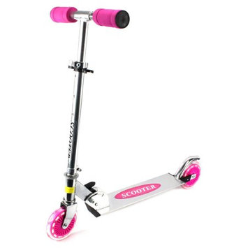 Velocity Toys Kick Riders Aluminum Children's Two Wheeled Metal Toy Kick Scooter, Adjustable Handlebar Height (Pink)
