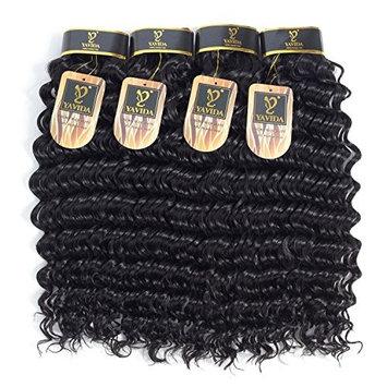 Yavida Hair Virgin Peruvian Human Hair Deep Wave 4 Bundles 8A Unprocessed Human Hair Extensions Deep Curly Cheap Human Hair Weft Natural Color 20 22 24 26 Inch