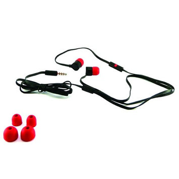 HTC Tangle Free Flat Cable 3.5mm Stereo Headset with Microphone & Call Answer/End Button - Red / Black