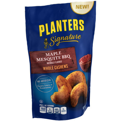 Planters Signature Maple Mesquite BBQ Whole Cashews Bag