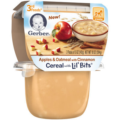 Gerber 3rd Foods Apples & Oatmeal with Cinnamon Cereal with Lil' Bits, 5 Ounce Tubs, 2 Count
