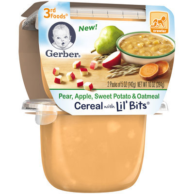 Gerber 3rd Foods Pear, Apple, Sweet Potato & Oatmeal Cereal with Lil' Bits, 5 Ounce Tubs, 2 Count