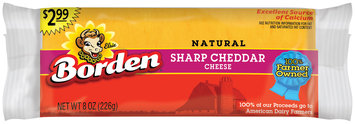 Borden® Natural Sharp Cheddar Cheese $2.99 Prepriced 8 oz. Brick