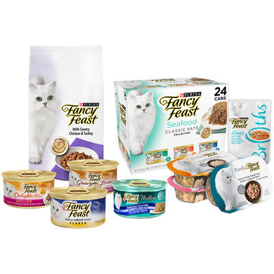 Purina Fancy Feast Dry & Wet Cat Food Family Group Shot