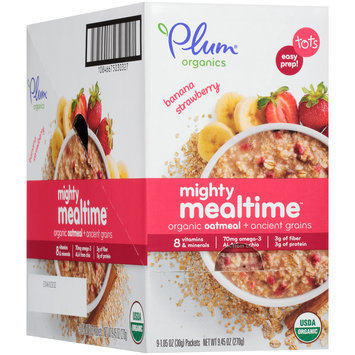Plum Organics® Banana Strawberry Mighty Mealtime™ Organic Oatmeal + Ancient Grains 9- 1.05 oz. Pouches