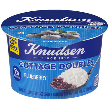 Knudsen Cottage Doubles Cottage Cheese & Blueberry Topping 4.7 oz. Tub