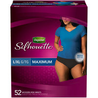 Depend Silhouette Maximum Absorbency L/XL Black Incontinence Briefs for Women 52 ct Box