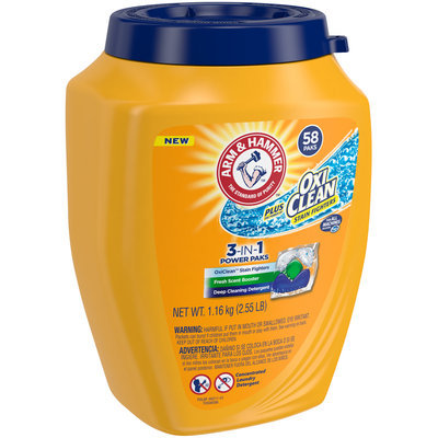 Arm & Hammer™ Oxi Clean™ Stain Fighters Fresh Scent 3-in-1 Power Paks Deep Cleansing Laundry Detergent 2.55 lb. Plastic Container