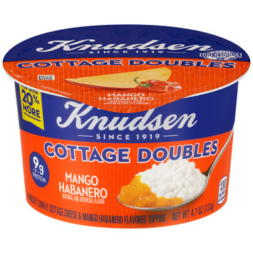 Knudsen Cottage Doubles Cottage Cheese & Mango Habanero Topping 4.7 oz. Tub