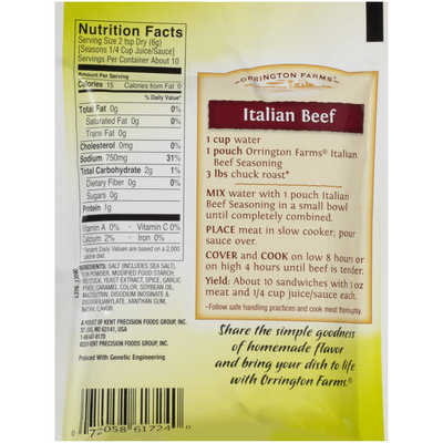 Orrington Farms® Slow Cookers Italian Beef Seasoning 2.1 oz. Packet