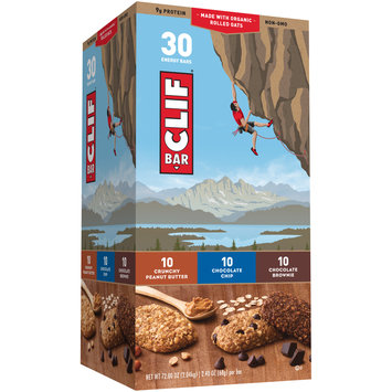 Clif Bar Chocolate Chip & Crunchy Peanut Butter & Chocolate Brownie Energy Bars 30 ct Variety Pack Box