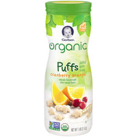 Gerber Organic Puffs Cereal Snack, Cranberry Orange, Naturally Flavored with Other Natural Flavors, 1.48 Ounce, 1 Count