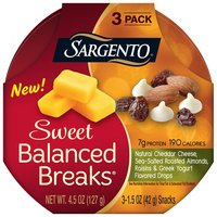Sargento® Sweet Balanced Breaks Natural Cheddar Cheese Sea-Salted Roasted Almonds Raisins & Greek Yogurt Flavored Drops Snacks 3-1.5 oz. Pack
