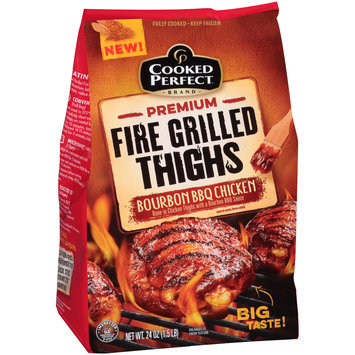 Cooked Perfect® Premium Fire Grilled Bone-In Thighs Bourbon BBQ Chicken 24 oz. Bag