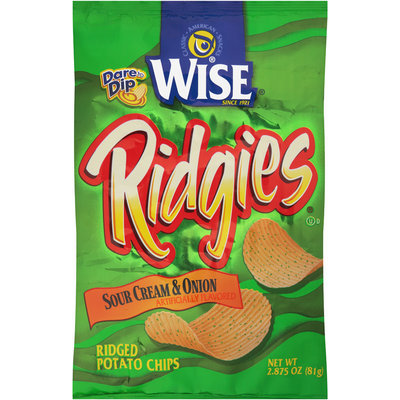 Wise® Ridgies® Sour Cream & Onion Potato Chips 2.875 oz. Bag
