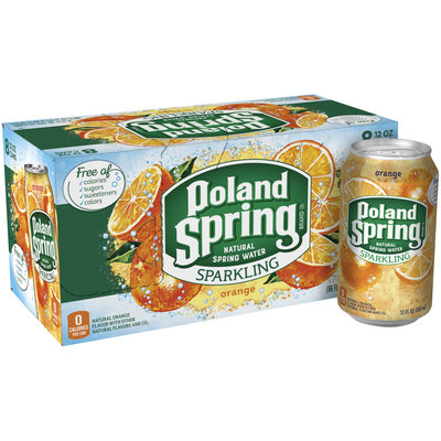 POLAND SPRING Orange Sparkling Natural Spring Water 12oz cans (Pack of 8)