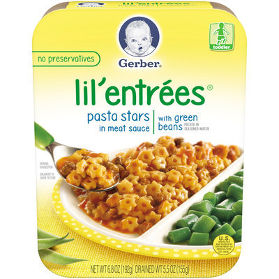Gerber® Lil' Entrees® Pasta Stars in Meat Sauce with Green Beans 6.8 oz. Tray (Pack of 8)